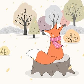 Desenhe a raposa sentada na madeira no outono da floresta.