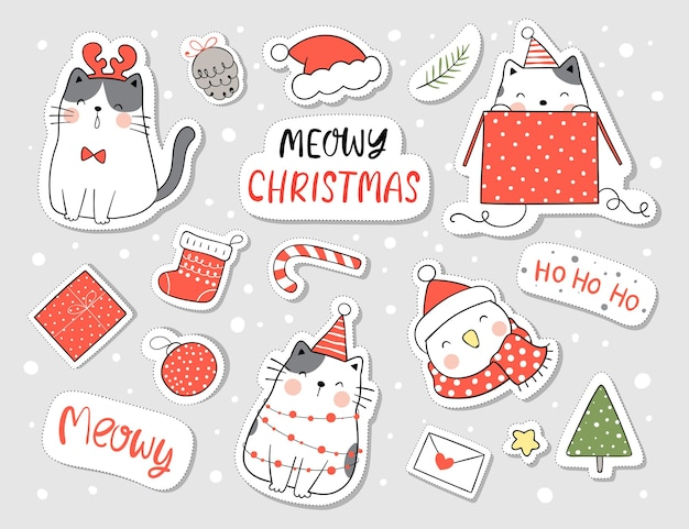 Desenhe adesivos gato feliz e elemento para o natal e ano novo
