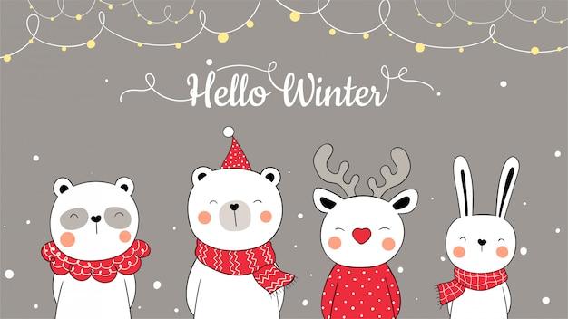 Desenhe animal bonito banner para o natal e ano novo.