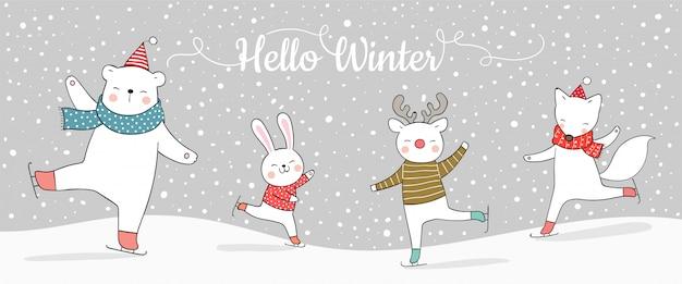 Desenhe animal engraçado banner jogando na neve para o natal.