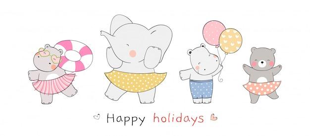 Desenhe animal engraçado para férias de verão e festa na praia.