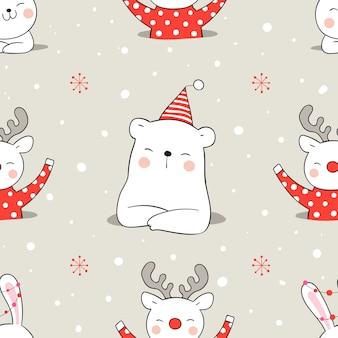 Desenhe animal padrão sem emenda na neve para o natal.