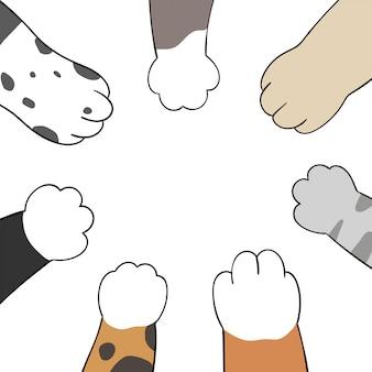 Desenhe as patas de gato e cachorro. estilo dos desenhos animados do doodle.