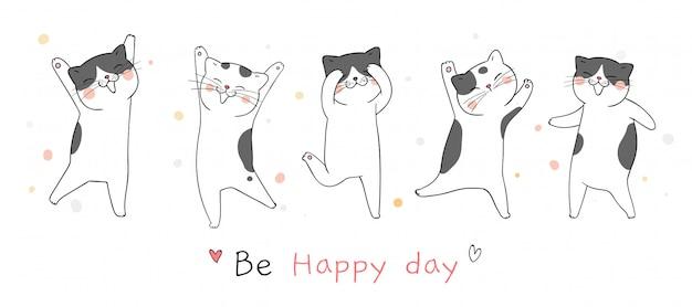 Desenhe banner gato dançando tão engraçado.