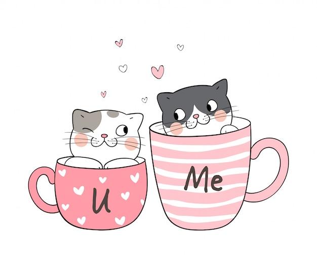 Desenhe casal amor de gato em uma xícara de chá.