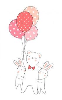 Desenhe coelho abraço urso segurando balão.