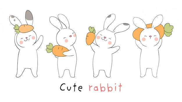 Desenhe coelho branco coleção com cenoura.