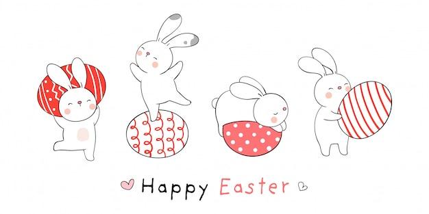 Desenhe coelho com ovos para a páscoa e primavera.