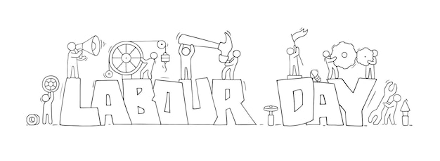Desenhe com palavras do dia do trabalho e pessoas pequenas.
