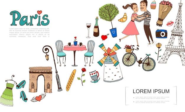 Desenhe elementos de paris com ilustração de casal apaixonado
