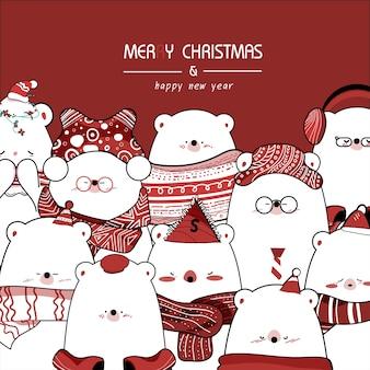 Desenhe fofo urso pequeno para o dia de natal.