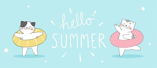 Desenhe gato banner com anel de borracha para o verão.