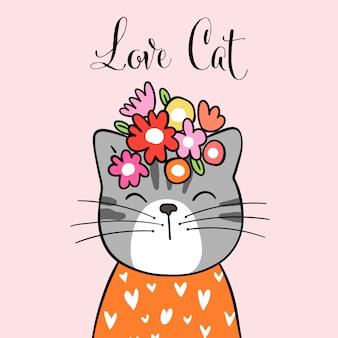 Desenhe gato bonito com flor na cabeça e palavra amor