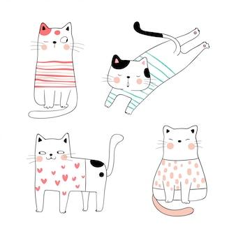 Desenhe gato bonito de coleção em cores doces.