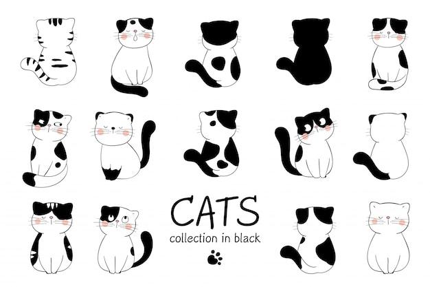 Desenhe gato bonito de coleção na cor preta.