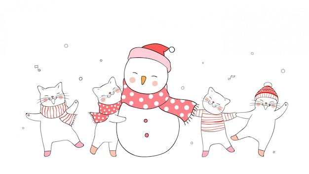 Desenhe gato bonito e boneco de neve no conceito branco de inverno.