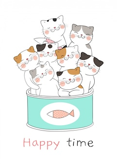 Desenhe gato bonito em lata de comida.