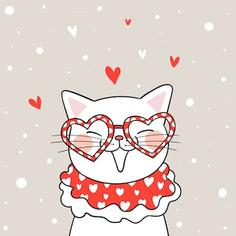 Desenhe gato branco com coração de óculos para o dia dos namorados.