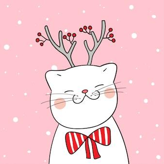 Desenhe gato branco com lenço de beleza na neve para a temporada de inverno