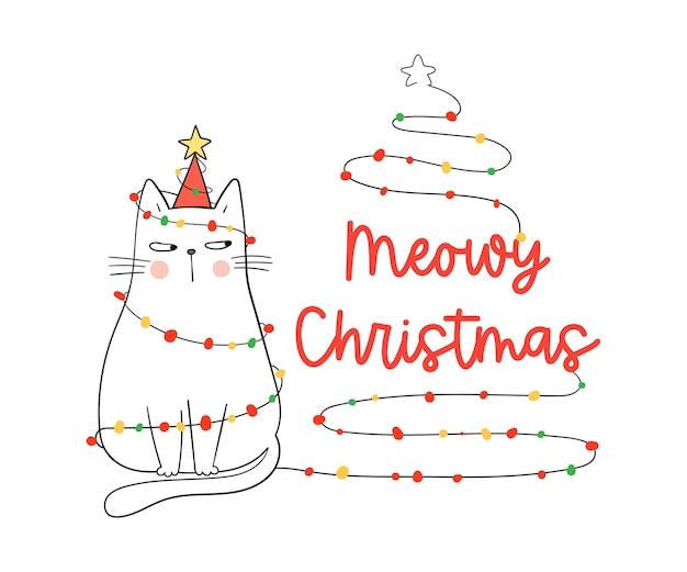 Desenhe gato branco de natal meowy. para o inverno e o ano novo.