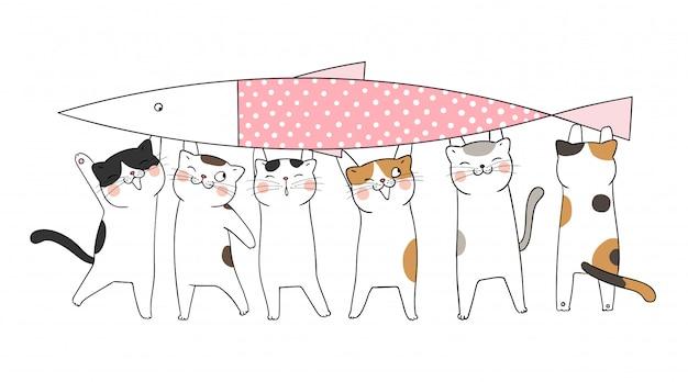 Desenhe gato carregar peixe grande rosa pastel