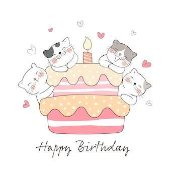 Desenhe gato com bolo doce para aniversário.