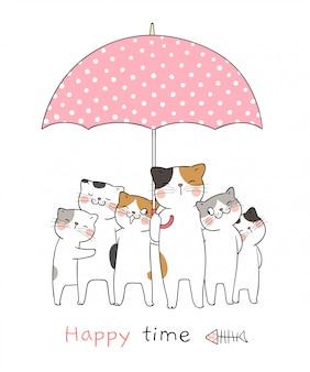 Desenhe gato com guarda-chuva doce tão feliz