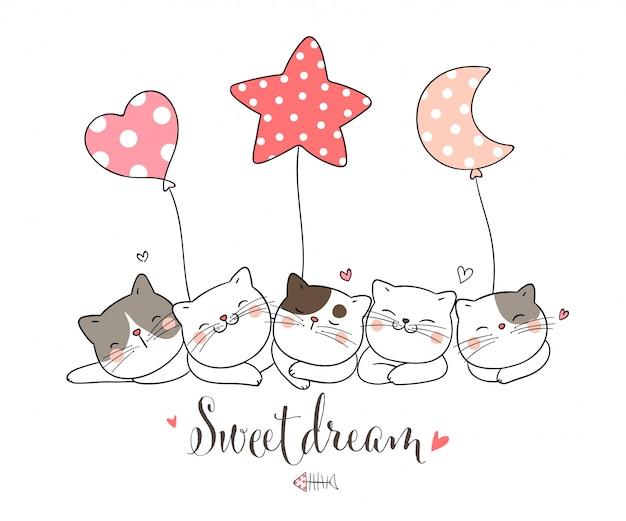 Desenhe gato dormindo com balão, estrela lua coração forma.
