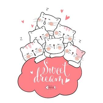 Desenhe gato dormir com nuvem rosa e palavra doce sonho