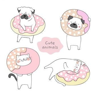 Desenhe gato e cachorro pug com donut doce.