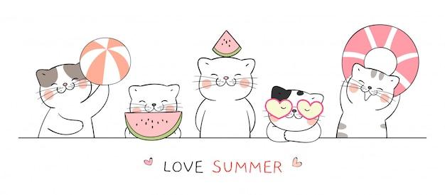 Desenhe gato engraçado banner com bola e melancia para o verão.