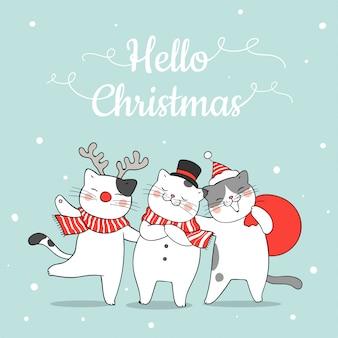 Desenhe gato engraçado na neve para o natal e ano novo.