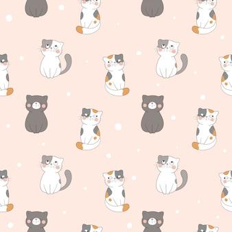 Desenhe gato padrão sem emenda na cor pastel.