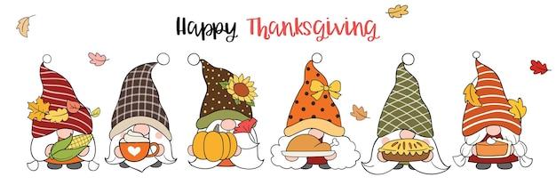 Desenhe gnomo com feliz ação de graças no outono