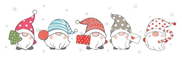 Desenhe gnomos de banner na neve para o inverno.
