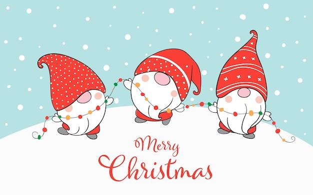 Desenhe gnomos engraçados de banner na neve para o natal.