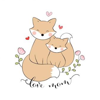 Desenhe mãe raposa e bebê com coraçãozinho em branco no dia das mães.