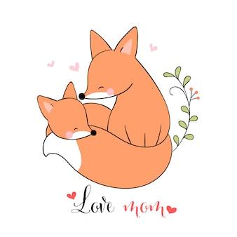 Desenhe mãe raposa e bebê com pouco coração para o dia das mães.