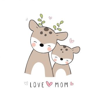 Desenhe mãe veado e bebê em branco no dia das mães.