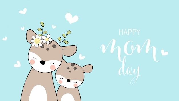 Desenhe mãe veado e bebê para o dia das mães.