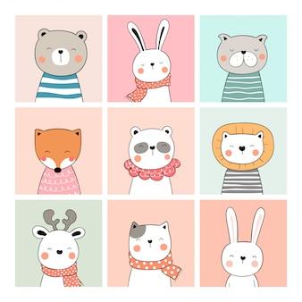 Desenhe o cartão bonito da coleção de animais doodle estilo cartoon.