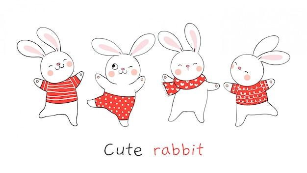 Desenhe o coelho de coleção em branco estilo cartoon doodle.