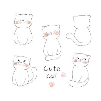 Desenhe o gato adorável de contorno de coleção em branco.