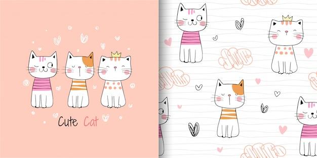 Desenhe o gato bonito padrão sem emenda em branco.