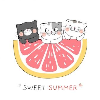 Desenhe o gato com uma fatia de laranja para o verão. estilo dos desenhos animados do doodle.