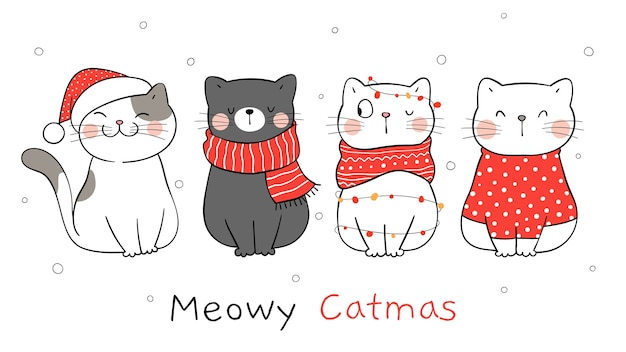Desenhe o gato da bandeira para o inverno e o natal.