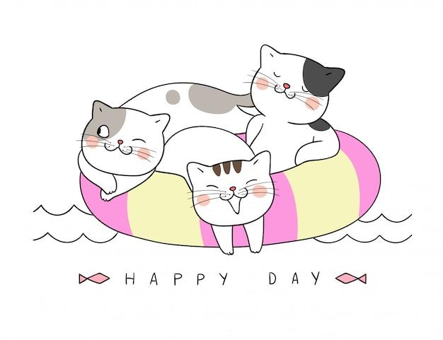 Desenhe o gato dormindo no anel de natação no horário de verão.