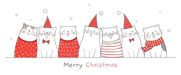 Desenhe o gato feliz banner para o natal e ano novo.