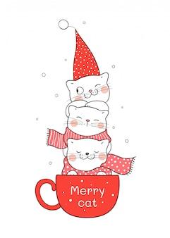 Desenhe o gato na xícara vermelha de café para o natal e ano novo.