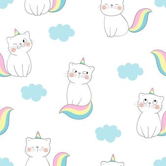 Desenhe o gato sem costura padrão como unicórnio com nuvem azul no branco.